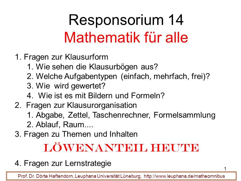 Responsorium 14 Mathematik für alle 1.Fragen zur Klausurform 1.Wie sehen die Klausurbögen aus? 2.Welche Aufgabentypen (einfach, mehrfach, frei)? 3.Wie