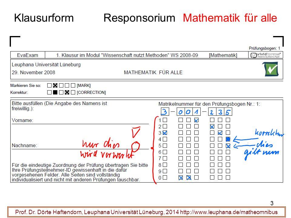 Klausurform Responsorium Mathematik für alle Prof. Dr. Dörte Haftendorn, Leuphana Universität Lüneburg, 2014 http://www.leuphana.de/matheomnibus 3