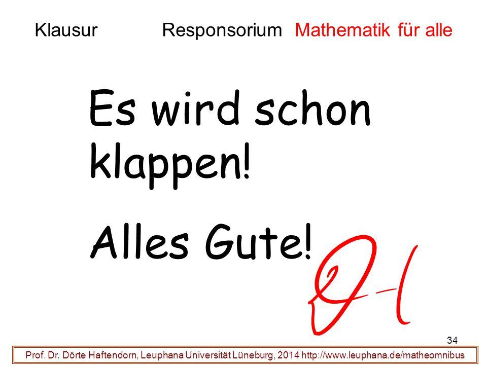 Klausur Responsorium Mathematik für alle Prof. Dr. Dörte Haftendorn, Leuphana Universität Lüneburg, 2014 http://www.leuphana.de/matheomnibus Es wird s