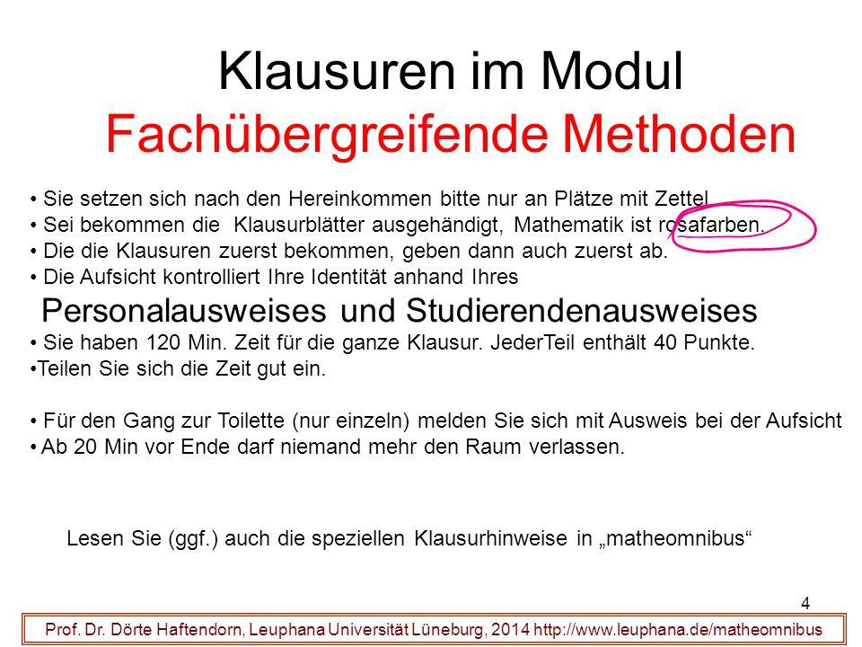 Klausuren im Modul Fachübergreifende Methoden Prof. Dr. Dörte Haftendorn, Leuphana Universität Lüneburg, 2014 http://www.leuphana.de/matheomnibus Sie