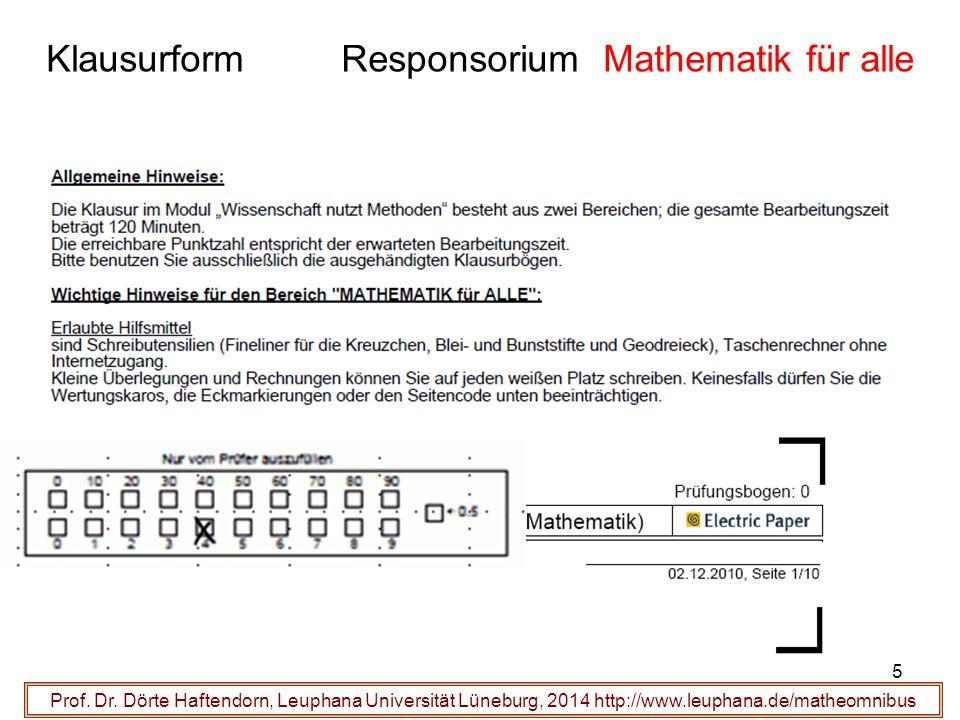Klausurform Responsorium Mathematik für alle Prof. Dr. Dörte Haftendorn, Leuphana Universität Lüneburg, 2014 http://www.leuphana.de/matheomnibus 5