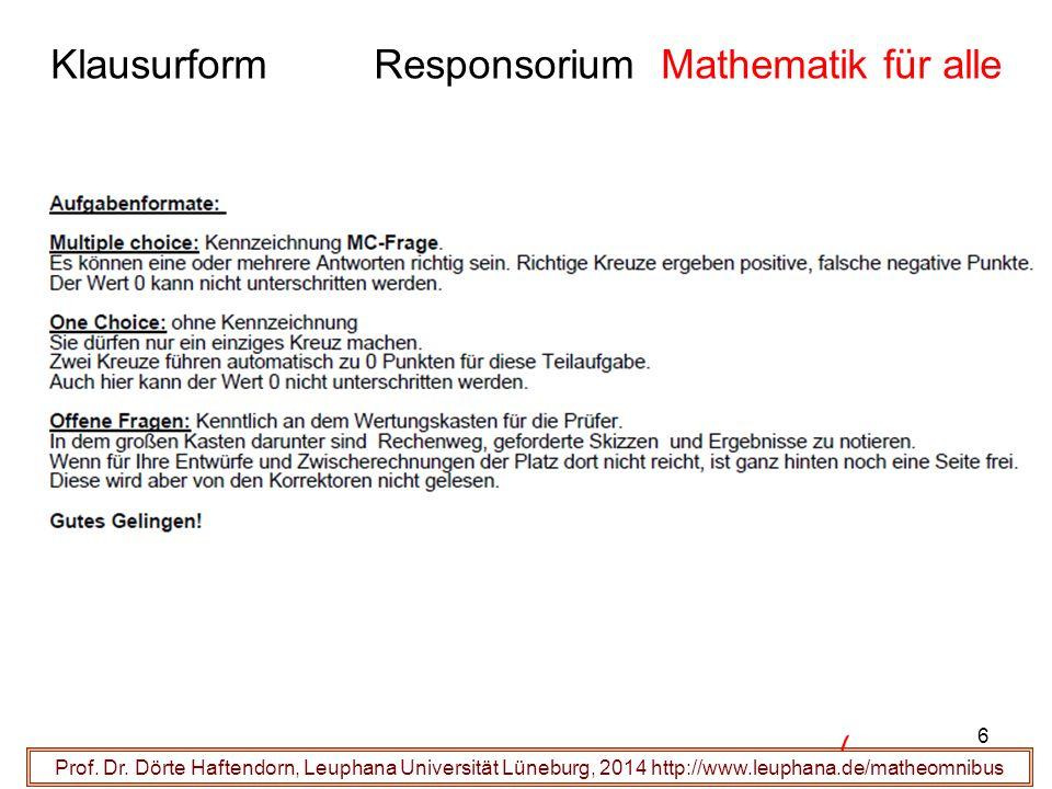 Klausurform Responsorium Mathematik für alle Prof. Dr. Dörte Haftendorn, Leuphana Universität Lüneburg, 2014 http://www.leuphana.de/matheomnibus 6