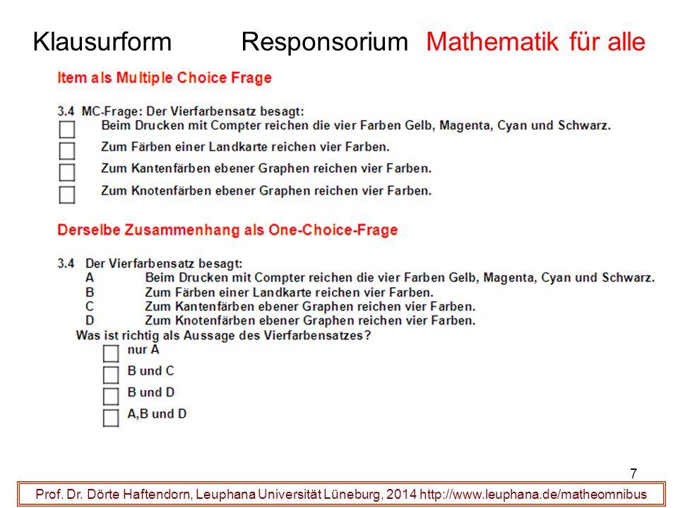 Klausurform Responsorium Mathematik für alle Prof. Dr. Dörte Haftendorn, Leuphana Universität Lüneburg, 2014 http://www.leuphana.de/matheomnibus 7