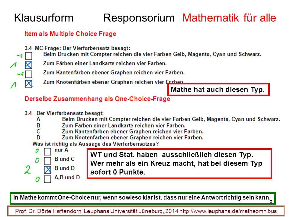 Klausurform Responsorium Mathematik für alle Prof. Dr. Dörte Haftendorn, Leuphana Universität Lüneburg, 2014 http://www.leuphana.de/matheomnibus WT un