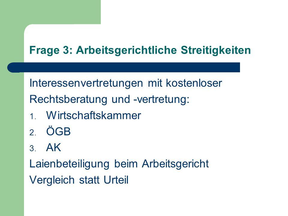 Frage 3: Arbeitsgerichtliche Streitigkeiten Interessenvertretungen mit kostenloser Rechtsberatung und -vertretung: 1.
