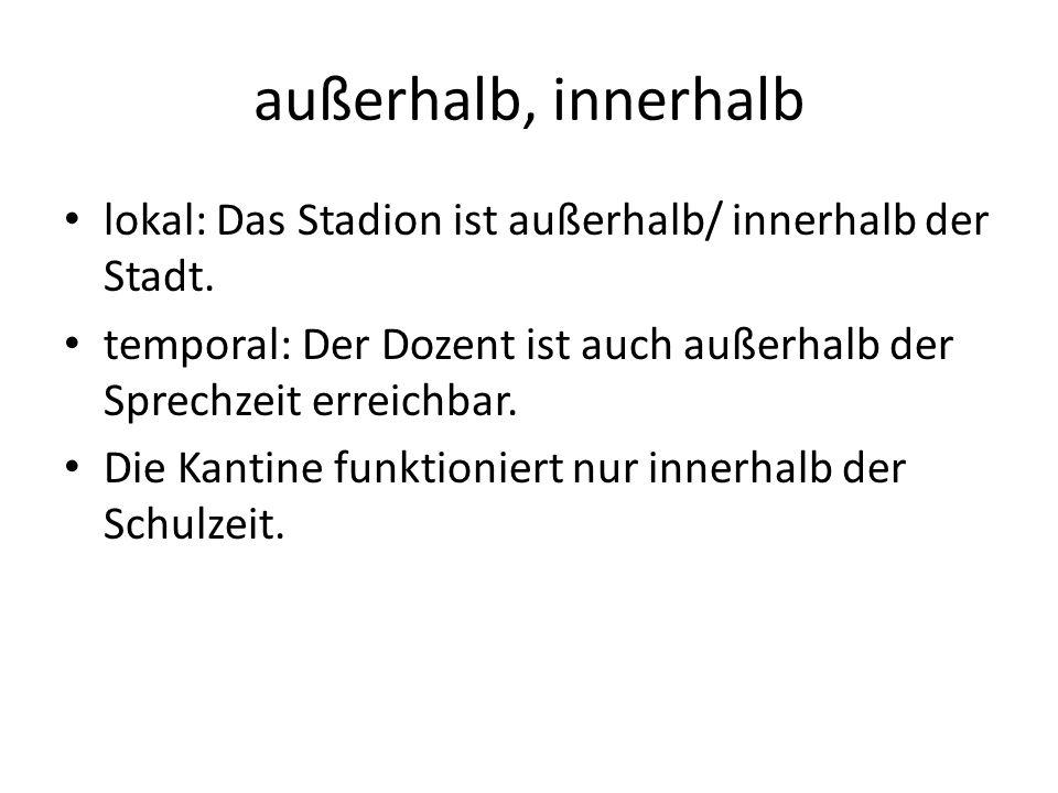 außerhalb, innerhalb lokal: Das Stadion ist außerhalb/ innerhalb der Stadt. temporal: Der Dozent ist auch außerhalb der Sprechzeit erreichbar. Die Kan