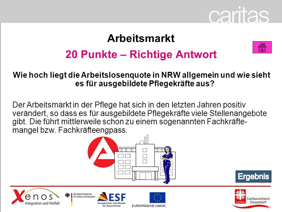 Page 55 20 Punkte – Richtige Antwort Wie hoch liegt die Arbeitslosenquote in NRW allgemein und wie sieht es für ausgebildete Pflegekräfte aus.