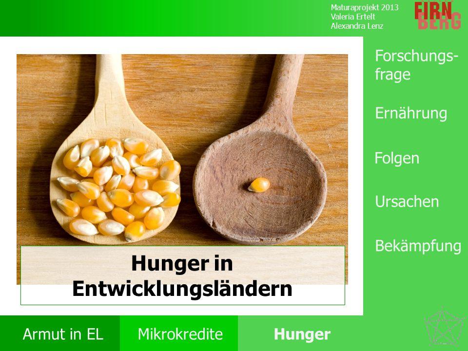 Maturaprojekt 2013 Valeria Ertelt Alexandra Lenz Armut in ELMikrokrediteHunger Ursachen Folgen Ernährung Bekämpfung Forschungs- frage Lösungsansätze World Food Programme Spenden: 3,82 Mrd.