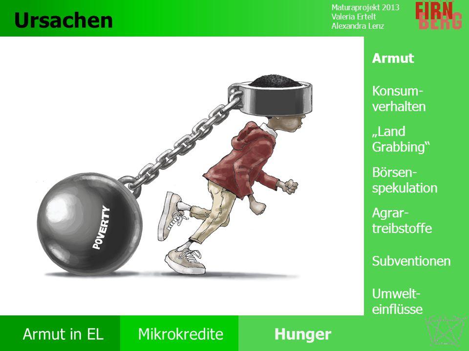 Maturaprojekt 2013 Valeria Ertelt Alexandra Lenz Armut in ELMikrokrediteHunger Ursachen Folgen Ernährung Bekämpfung Forschungs- frage Ursachen Konsum-