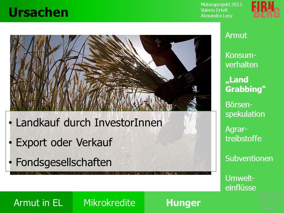 Maturaprojekt 2013 Valeria Ertelt Alexandra Lenz Armut in ELMikrokrediteHunger Ursachen Folgen Ernährung Bekämpfung Forschungs- frage Ursachen Landkau