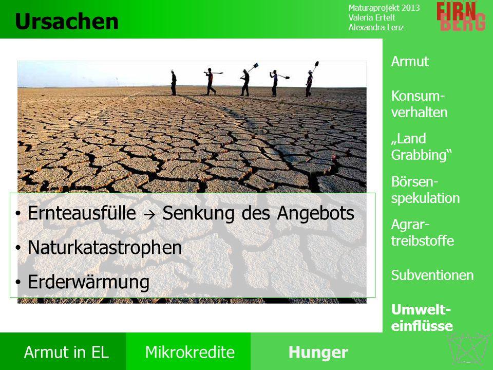 Maturaprojekt 2013 Valeria Ertelt Alexandra Lenz Armut in ELMikrokrediteHunger Ursachen Folgen Ernährung Bekämpfung Forschungs- frage Ursachen Ernteau