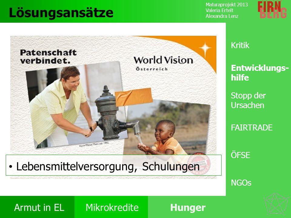 Maturaprojekt 2013 Valeria Ertelt Alexandra Lenz Armut in ELMikrokrediteHunger Ursachen Folgen Ernährung Bekämpfung Forschungs- frage Lösungsansätze L