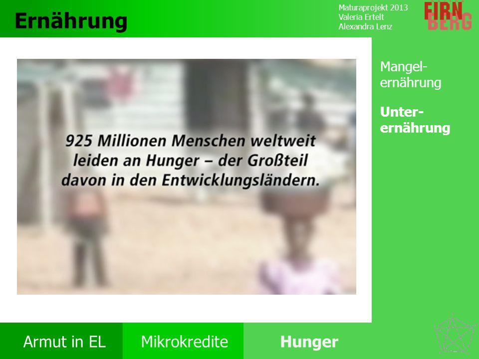 Maturaprojekt 2013 Valeria Ertelt Alexandra Lenz Armut in ELMikrokrediteHunger Ursachen Folgen Ernährung Bekämpfung Forschungs- frage Ernährung Burundi (73%) Eritrea (65%) Sambia (47%) Quelle: Food and Agriculture Organization of the United Nations (FAO): Weltweite Verbreitung von Unterernährung.