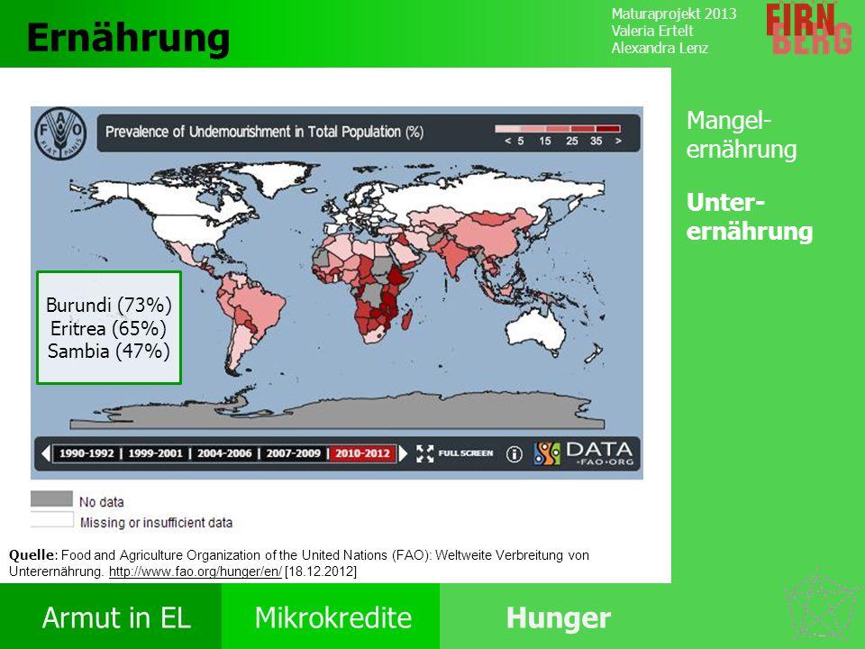 Maturaprojekt 2013 Valeria Ertelt Alexandra Lenz Armut in ELMikrokrediteHunger Ursachen Folgen Ernährung Bekämpfung Forschungs- frage Ernährung Burund