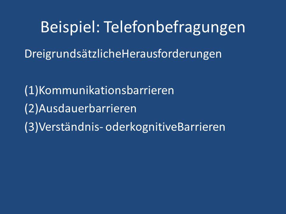 Beispiel: Telefonbefragungen DreigrundsätzlicheHerausforderungen (1)Kommunikationsbarrieren (2)Ausdauerbarrieren (3)Verständnis- oderkognitiveBarriere