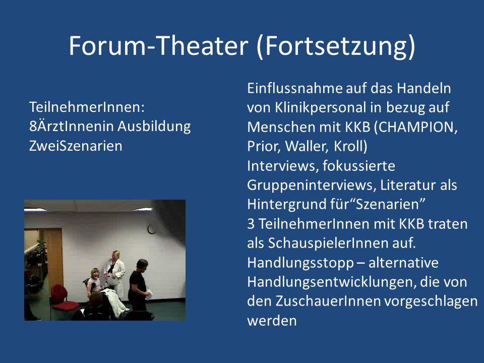 TeilnehmerInnen: 8ÄrztInnenin Ausbildung ZweiSzenarien Forum-Theater (Fortsetzung) Einflussnahme auf das Handeln von Klinikpersonal in bezug auf Mensc