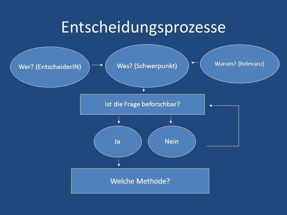Entscheidungsprozesse Was? (Schwerpunkt) Warum? (Relevanz) Wer? (EntscheiderIN) Ist die Frage beforschbar? JaNein Welche Methode?