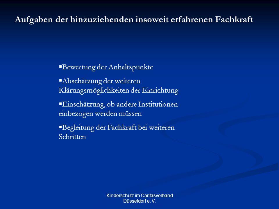 Kinderschutz im Caritasverband Düsseldorf e. V. Aufgaben der hinzuziehenden insoweit erfahrenen Fachkraft  Bewertung der Anhaltspunkte  Abschätzung