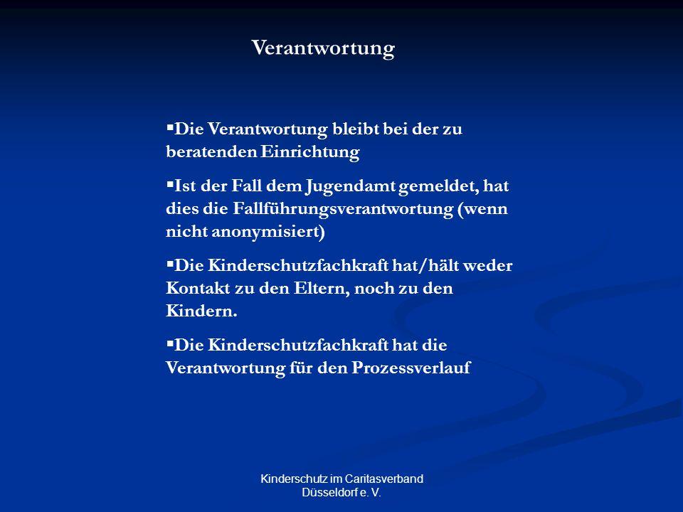Kinderschutz im Caritasverband Düsseldorf e. V. Verantwortung  Die Verantwortung bleibt bei der zu beratenden Einrichtung  Ist der Fall dem Jugendam