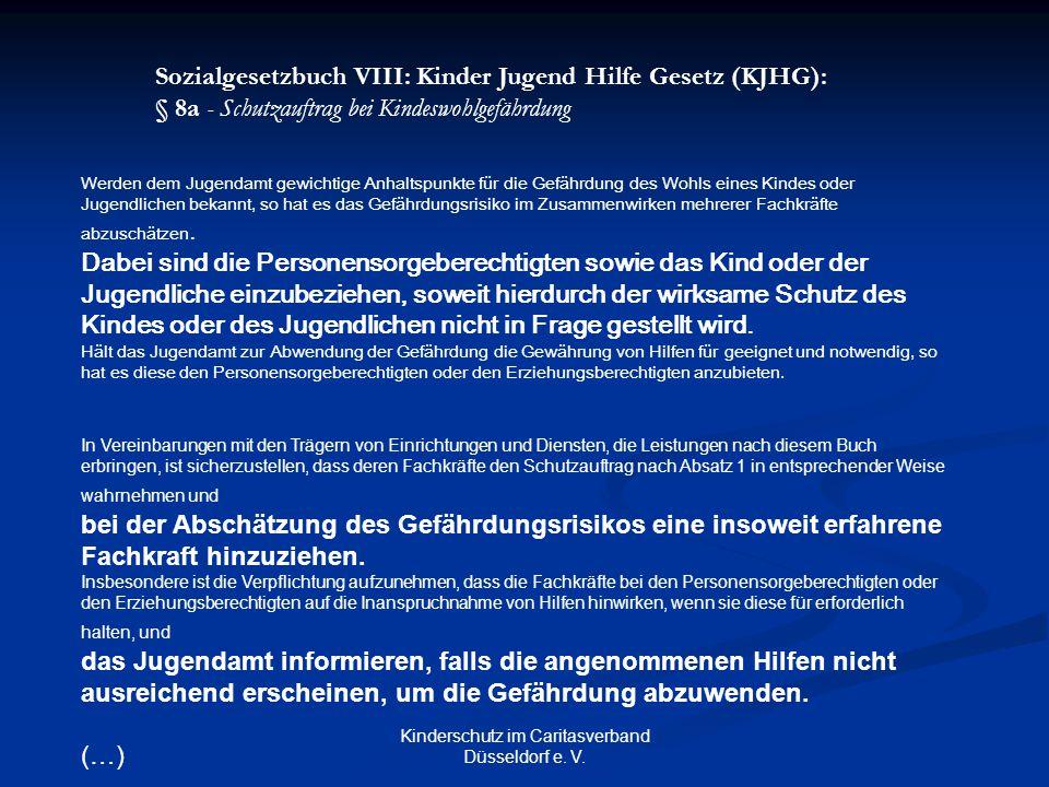 Kinderschutz im Caritasverband Düsseldorf e. V. Werden dem Jugendamt gewichtige Anhaltspunkte für die Gefährdung des Wohls eines Kindes oder Jugendlic