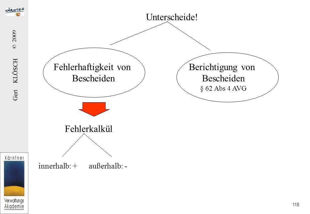 Gert KLÖSCH © 2009 118 Unterscheide.