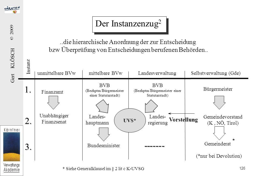 Gert KLÖSCH © 2009 126 Der Instanzenzug 2..die hierarchische Anordnung der zur Entscheidung bzw Überprüfung von Entscheidungen berufenen Behörden..