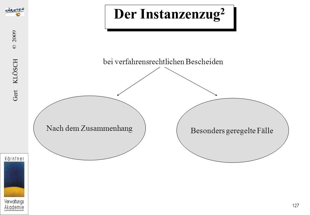 Gert KLÖSCH © 2009 127 Der Instanzenzug 2 bei verfahrensrechtlichen Bescheiden Nach dem Zusammenhang Besonders geregelte Fälle