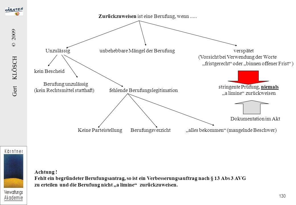 Gert KLÖSCH © 2009 130 Zurückzuweisen ist eine Berufung, wenn.....