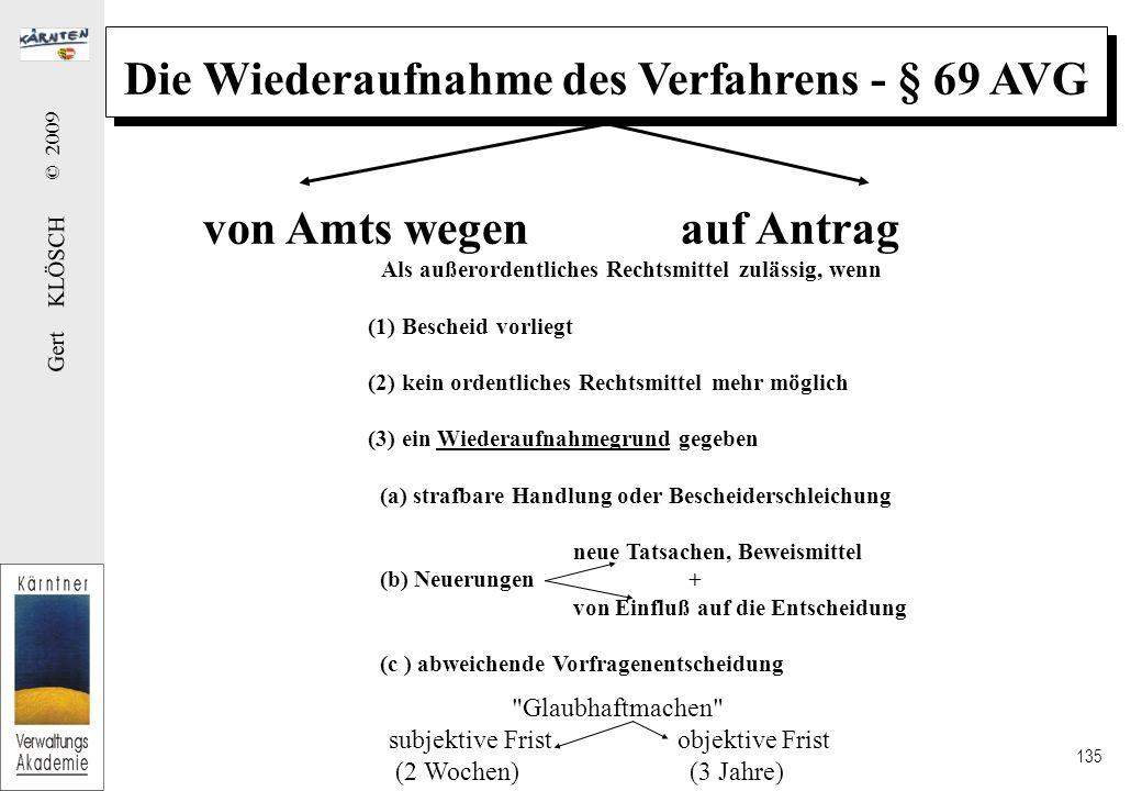 Gert KLÖSCH © 2009 135 Die Wiederaufnahme des Verfahrens - § 69 AVG von Amts wegen auf Antrag Als außerordentliches Rechtsmittel zulässig, wenn (1) Bescheid vorliegt (2) kein ordentliches Rechtsmittel mehr möglich (3) ein Wiederaufnahmegrund gegeben (a) strafbare Handlung oder Bescheiderschleichung neue Tatsachen, Beweismittel (b) Neuerungen + von Einfluß auf die Entscheidung (c ) abweichende Vorfragenentscheidung Glaubhaftmachen subjektive Frist objektive Frist (2 Wochen) (3 Jahre)