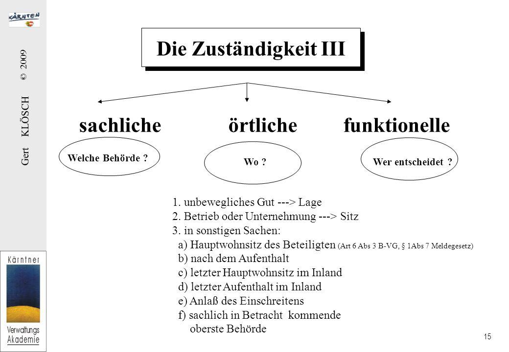 Gert KLÖSCH © 2009 15 Die Zuständigkeit III sachliche örtliche funktionelle Welche Behörde .