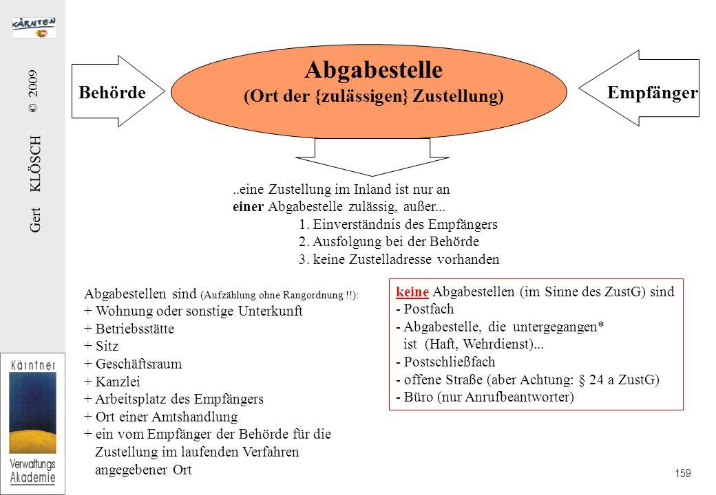 Gert KLÖSCH © 2009 159 Abgabestelle (Ort der {zulässigen} Zustellung) BehördeEmpfänger..eine Zustellung im Inland ist nur an einer Abgabestelle zulässig, außer...