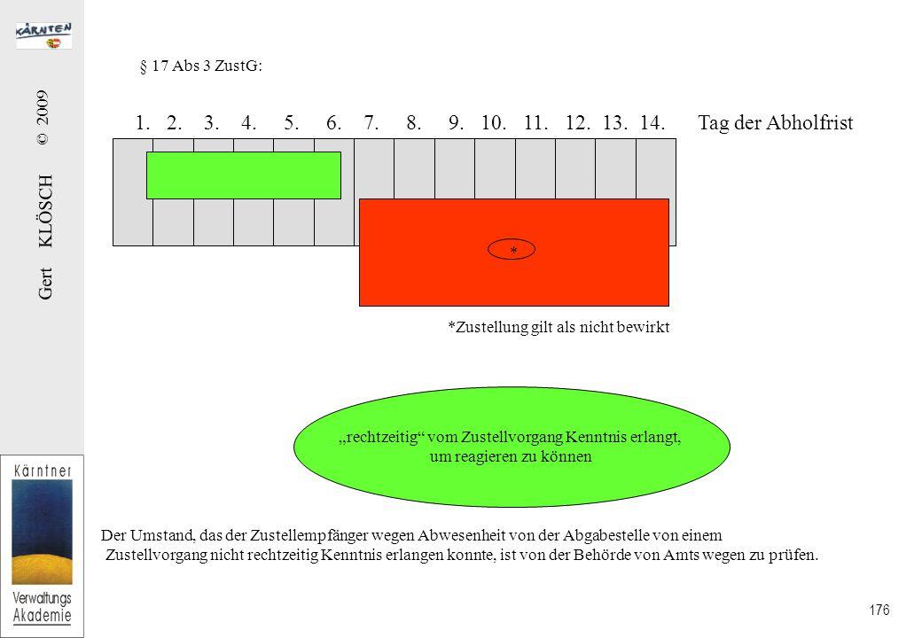 Gert KLÖSCH © 2009 176 § 17 Abs 3 ZustG: 1.2. 3. 4.