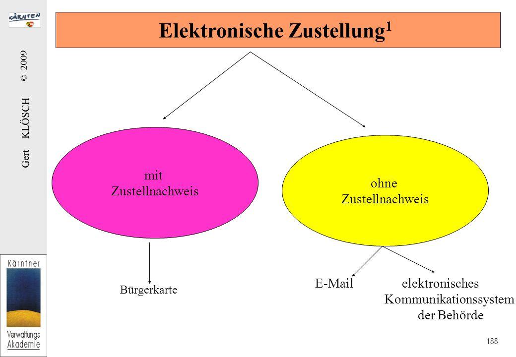 Gert KLÖSCH © 2009 188 Elektronische Zustellung 1 mit Zustellnachweis ohne Zustellnachweis Bürgerkarte E-Mail elektronisches Kommunikationssystem der Behörde