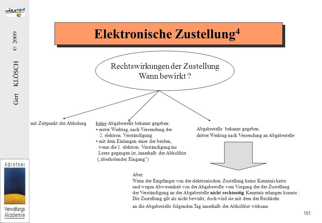 Gert KLÖSCH © 2009 191 Elektronische Zustellung 4 Rechtswirkungen der Zustellung Wann bewirkt .