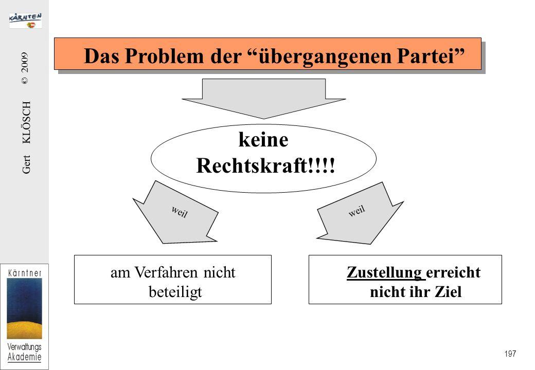 Gert KLÖSCH © 2009 197 Das Problem der übergangenen Partei keine Rechtskraft!!!.