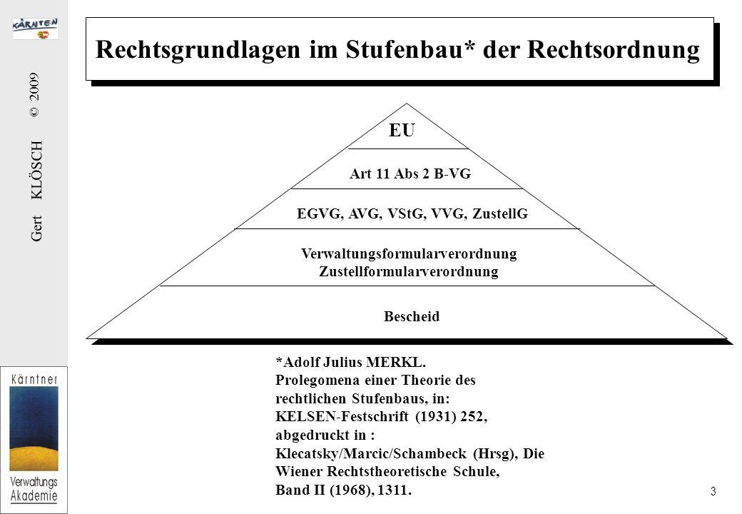 Gert KLÖSCH © 2009 3 Rechtsgrundlagen im Stufenbau* der Rechtsordnung Art 11 Abs 2 B-VG EGVG, AVG, VStG, VVG, ZustellG Verwaltungsformularverordnung Zustellformularverordnung Bescheid EU *Adolf Julius MERKL.