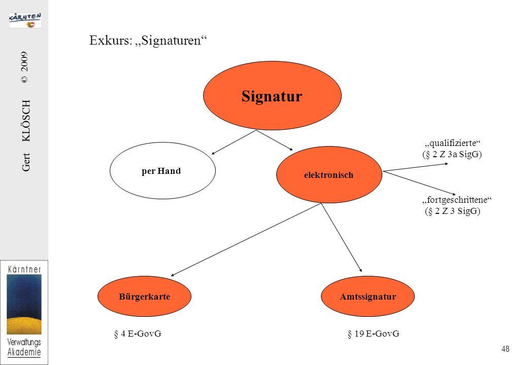 """Gert KLÖSCH © 2009 48 Exkurs: """"Signaturen Signatur per Hand elektronisch """"qualifizierte (§ 2 Z 3a SigG) """"fortgeschrittene (§ 2 Z 3 SigG) BürgerkarteAmtssignatur § 4 E-GovG § 19 E-GovG"""