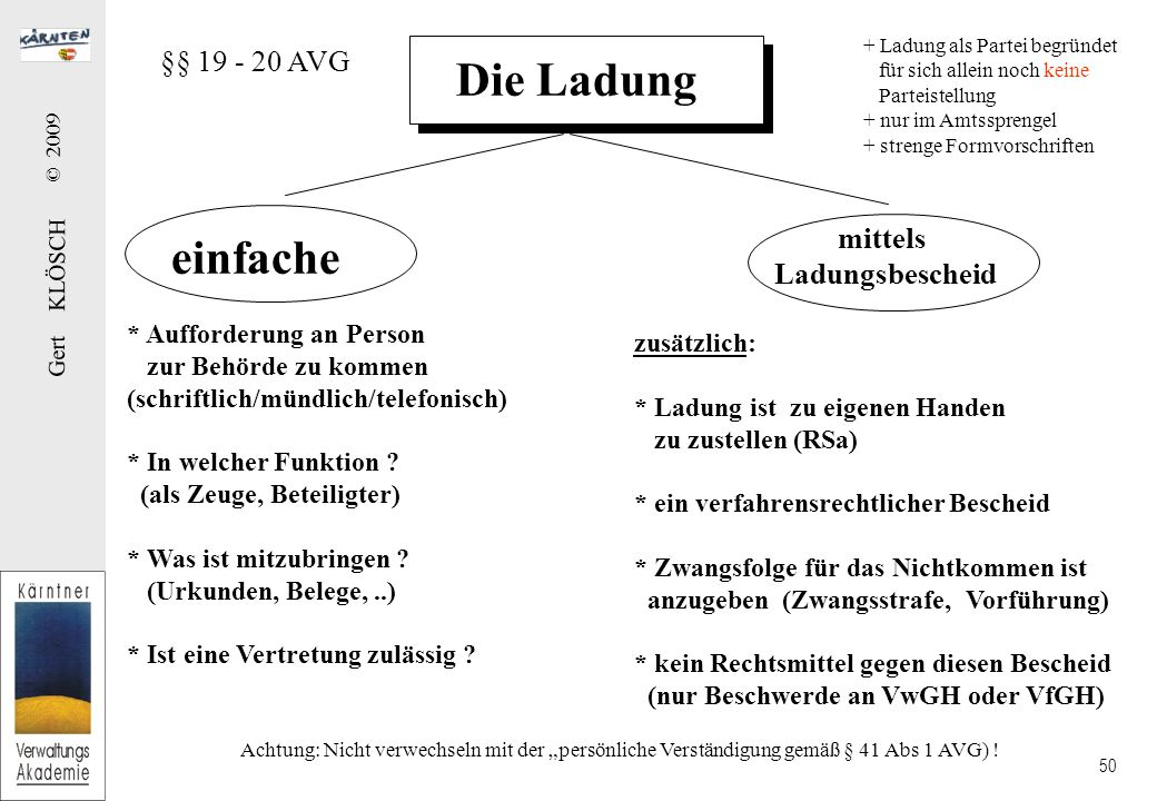 Gert KLÖSCH © 2009 50 Die Ladung einfache mittels Ladungsbescheid * Aufforderung an Person zur Behörde zu kommen (schriftlich/mündlich/telefonisch) * In welcher Funktion .