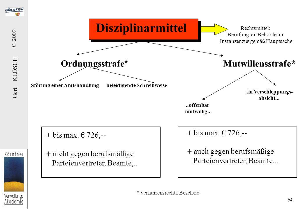 Gert KLÖSCH © 2009 54 Disziplinarmittel Ordnungsstrafe * Mutwillensstrafe*..offenbar mutwillig.....in Verschleppungs- absicht...