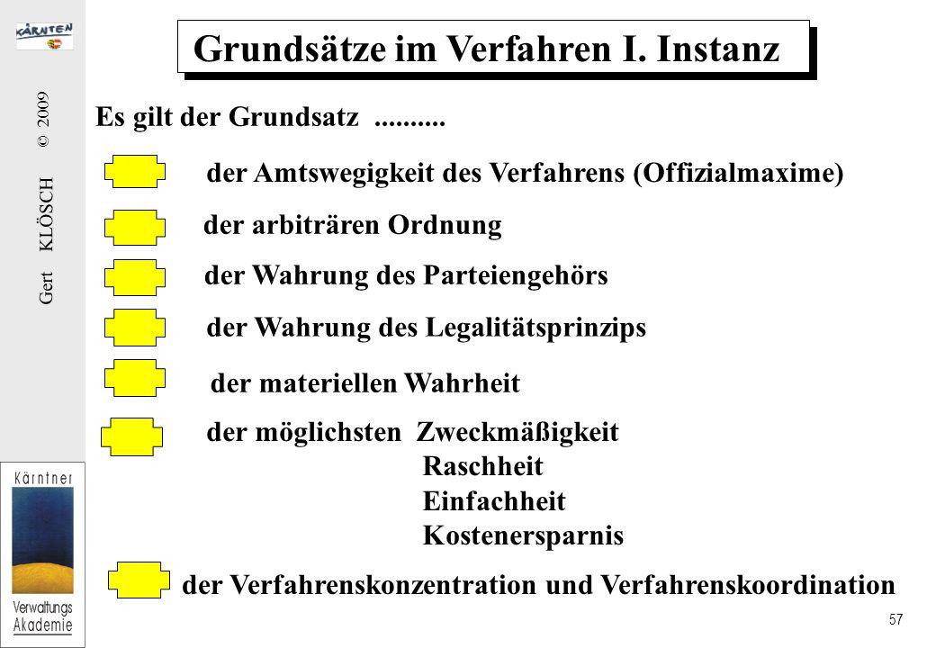 Gert KLÖSCH © 2009 57 Grundsätze im Verfahren I.Instanz Es gilt der Grundsatz..........