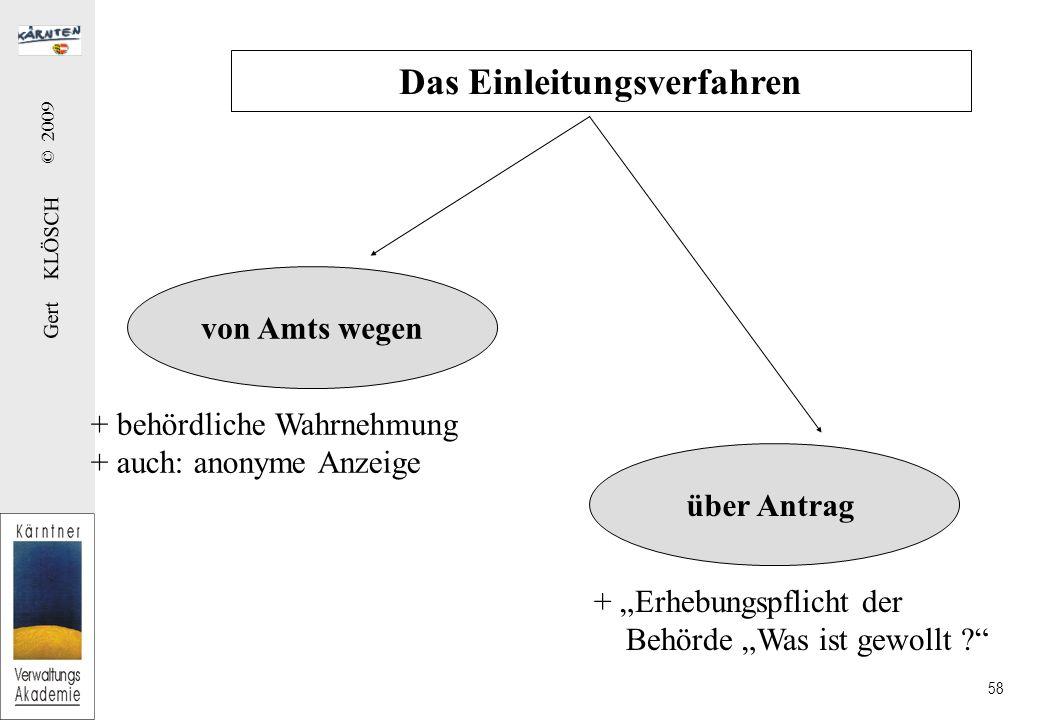"""Gert KLÖSCH © 2009 58 von Amts wegen über Antrag Das Einleitungsverfahren + behördliche Wahrnehmung + auch: anonyme Anzeige + """"Erhebungspflicht der Behörde """"Was ist gewollt ?"""