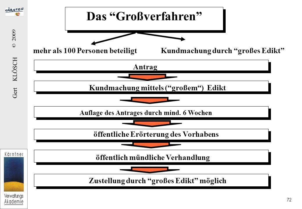 Gert KLÖSCH © 2009 72 Das Großverfahren mehr als 100 Personen beteiligtKundmachung durch großes Edikt Antrag Kundmachung mittels ( großem ) Edikt Auflage des Antrages durch mind.