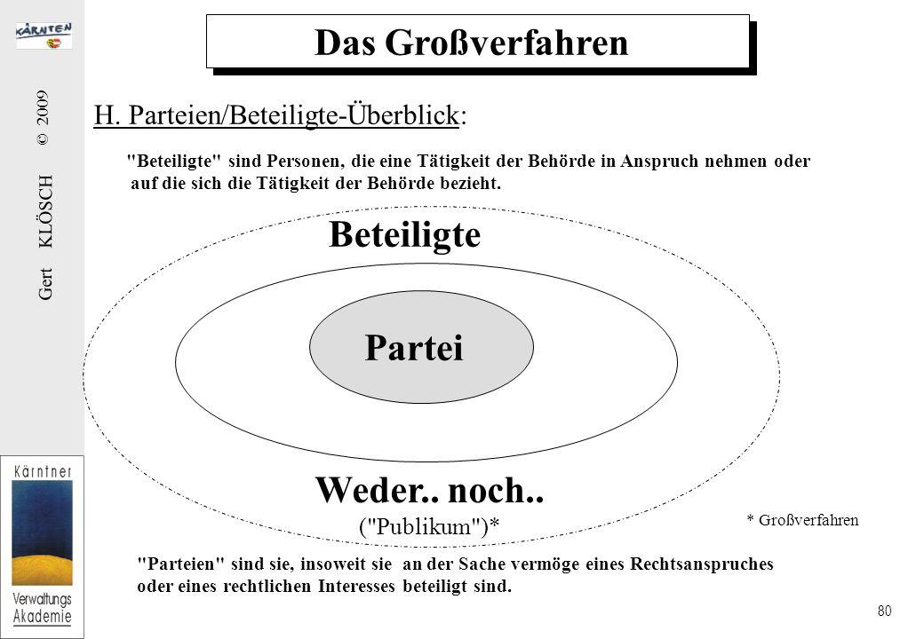 Gert KLÖSCH © 2009 80 Das Großverfahren Beteiligte sind Personen, die eine Tätigkeit der Behörde in Anspruch nehmen oder auf die sich die Tätigkeit der Behörde bezieht.
