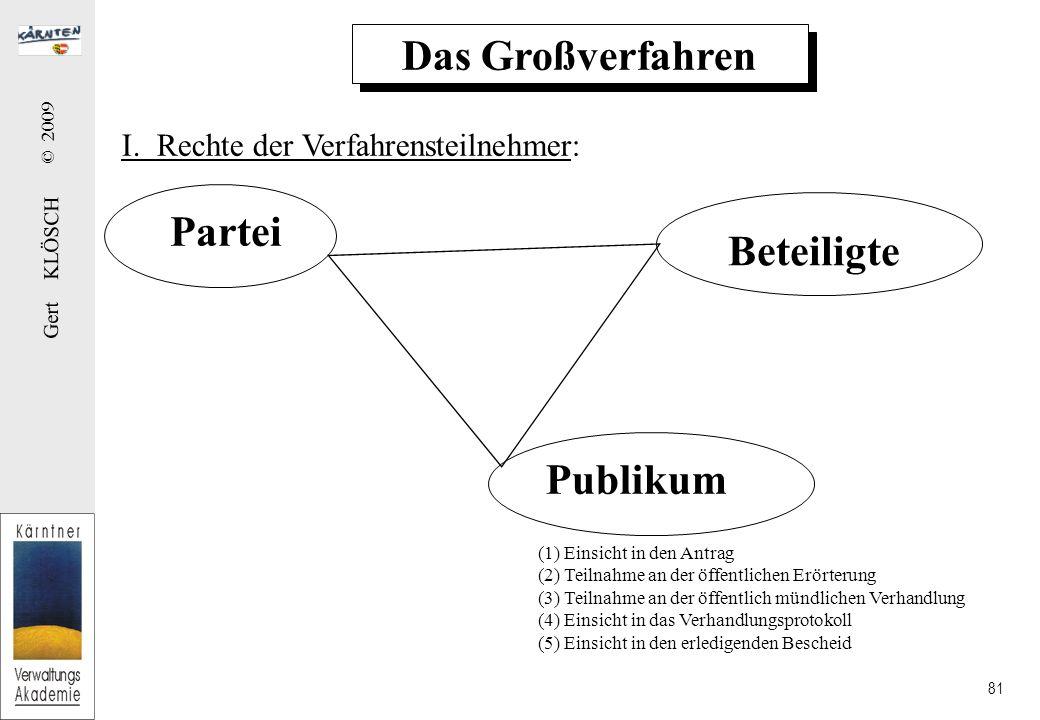Gert KLÖSCH © 2009 81 Das Großverfahren Partei Beteiligte I.