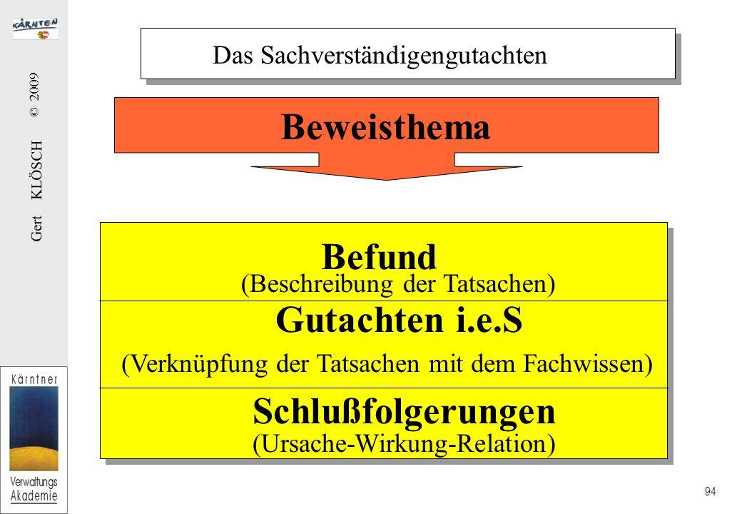 Gert KLÖSCH © 2009 94 Das Sachverständigengutachten Befund (Beschreibung der Tatsachen) Gutachten i.e.S (Verknüpfung der Tatsachen mit dem Fachwissen) Schlußfolgerungen (Ursache-Wirkung-Relation) Beweisthema