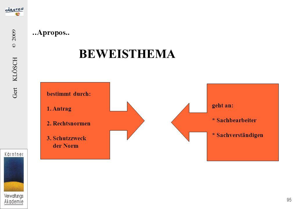 Gert KLÖSCH © 2009 95..Apropos.. BEWEISTHEMA bestimmt durch: 1.