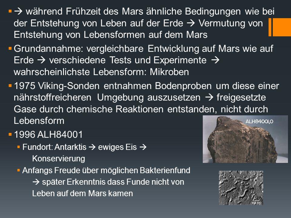  während Frühzeit des Mars ähnliche Bedingungen wie bei der Entstehung von Leben auf der Erde  Vermutung von Entstehung von Lebensformen auf dem Ma