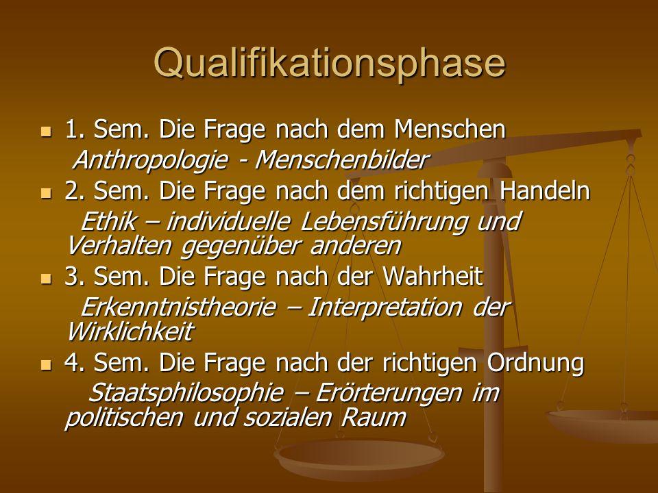 Qualifikationsphase 1. Sem. Die Frage nach dem Menschen 1. Sem. Die Frage nach dem Menschen Anthropologie - Menschenbilder Anthropologie - Menschenbil
