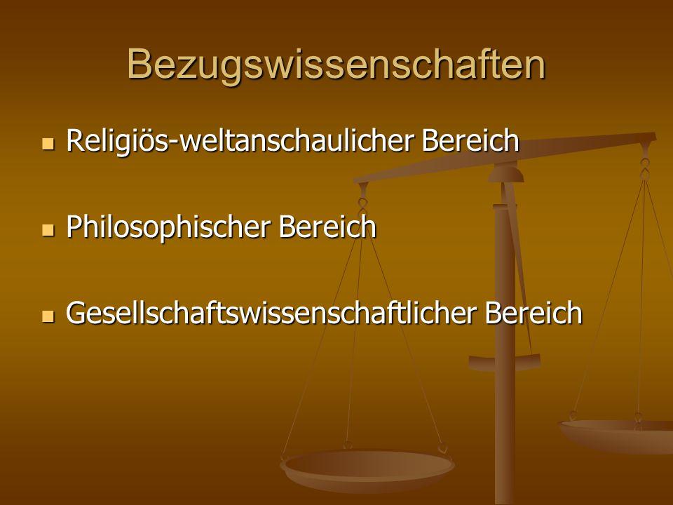 Bezugswissenschaften Religiös-weltanschaulicher Bereich Religiös-weltanschaulicher Bereich Philosophischer Bereich Philosophischer Bereich Gesellschaftswissenschaftlicher Bereich Gesellschaftswissenschaftlicher Bereich
