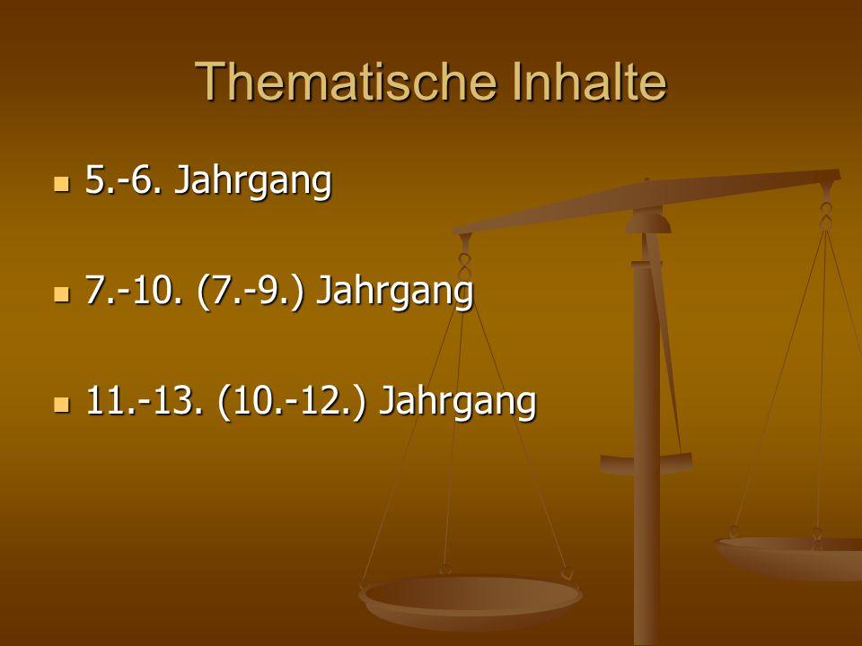 Thematische Inhalte 5.-6. Jahrgang 5.-6. Jahrgang 7.-10. (7.-9.) Jahrgang 7.-10. (7.-9.) Jahrgang 11.-13. (10.-12.) Jahrgang 11.-13. (10.-12.) Jahrgan